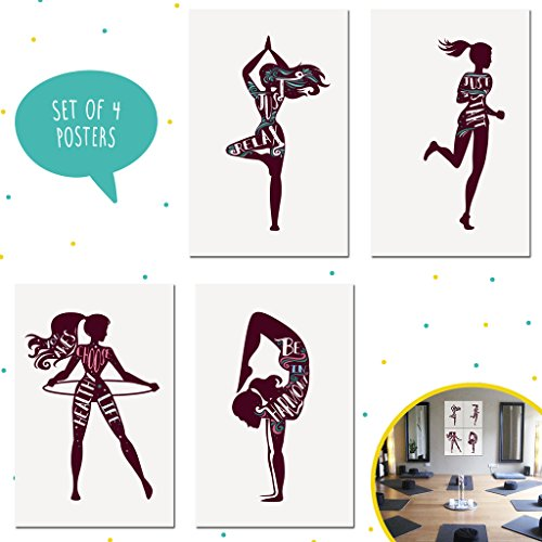 Bits of Yellow Set of Four 11X17 Girls Yoga Art Prints, Fitness Quotes For Womens Gym Perfect for Gym Decor, Yoga Wall Art, Girls Bedroom Ideas, and Gifts for Instructor. Gym Posters