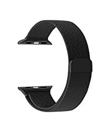 Apple Watch Band, JETech 38mm Milanese Loop Stainless Steel Strap No Buckle Needed (Black) - 2118