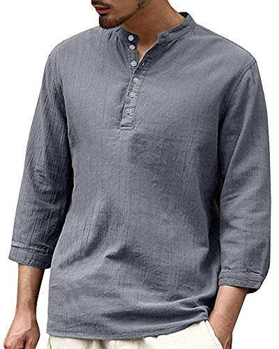 Tenkilo Men 3/4 Sleeve Henley Shirts Banded Collar Linen Summer Beach V Neck Loose Fit Blouse T Shirt
