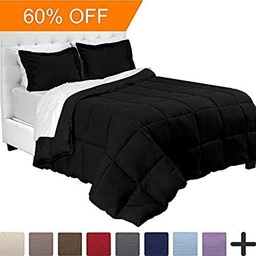 7-Piece Bed-In-A-Bag - California King (Comforter Set: Black, Sheet Set: White) - Alternatives California King Sheet Set
