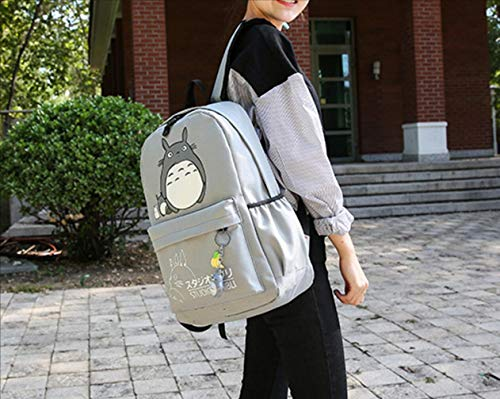 be554acd9f Thedmhom 1 Pcs New Cute Animal Classic Cartoon Anime Cat Totoro Canvas  Backpack Stationery Pouch Fashion Gray Casual Bag Satchel School Student  Adults Kids ...