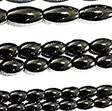 """Luxury & Custom {3 x 5mm} of Approx 82 Individual Loose Tiny Size Oval """"Rice"""" Beads Made of Genuine Hematite w/ Classic Simple & Chrome Magnetic Design on Strand {Black}"""