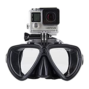 ALoma Gopro Buceo y snorkel Gafas máscaras Packs de Buceo y snorkel Diving Mask with Tempered Glasses and Camera Stand for GoPro Hero HD, Hero 4 Silver Black, Hero 3+, Hero 3, Hero 2, Hero 1, Sj4000, SJ5000 Camera (Black)