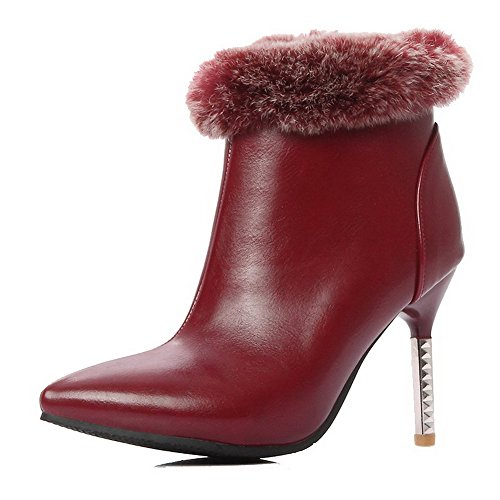 AllhqFashion Womens Pointed Closed Toe Ankle-high High-Heels Solid PU Boots Claret jdLUXreM