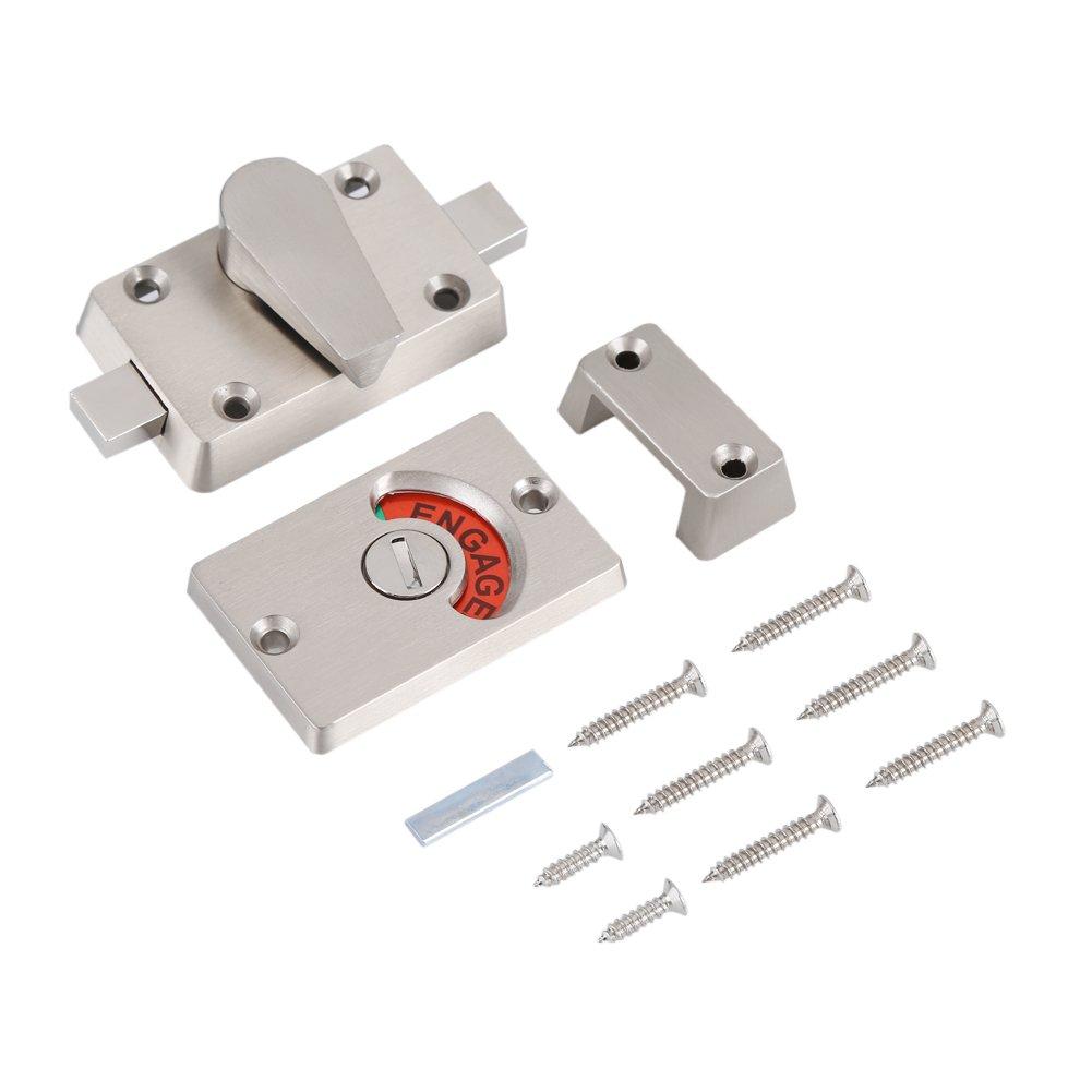 Door Lock Bathroom Toilet Door Lock with Occupancy Indicator Stainless Steel Vacant Engaged Toilet Privacy Indicator Lock Hardware Accessory