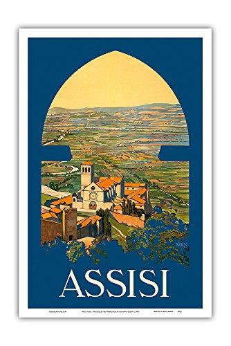 - Assisi Italy - Basilica di San Francesco Church - Vintage World Travel Poster by Vittorio Grassi c.1920 - Master Art Print - 12in x 18in