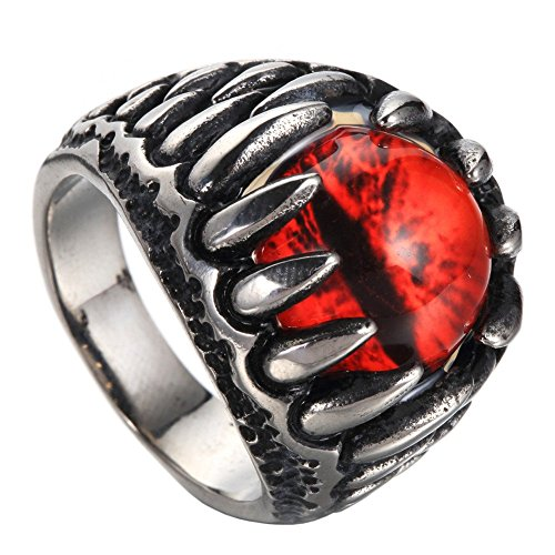 JAJAFOOK Men's Stainless Steel Blue Gothic Dragon Claw Evil Devil Eyeball Biker Ring, Red Eye 8-13