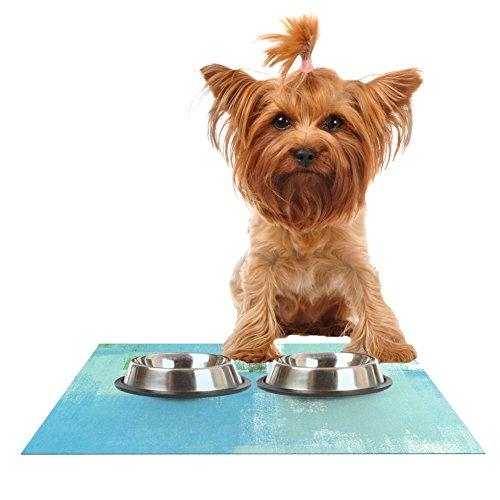 Kess InHouse CarolLynn Tice ''Announced'' Aqua Green Feeding Mat for Pet Bowls, 24 by 15-Inch by Kess InHouse