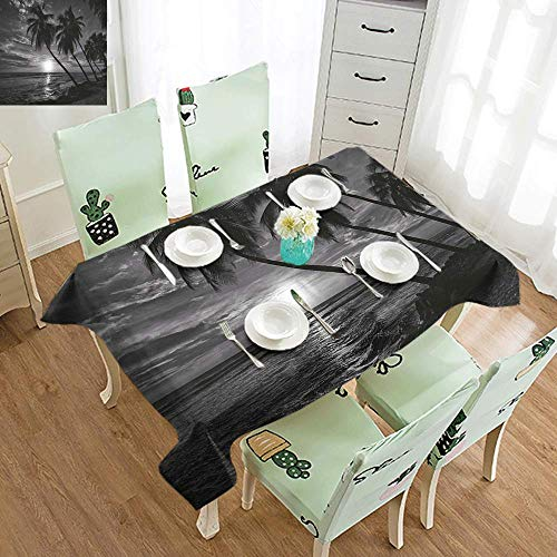 DILITECK Waterproof Tablecloth Tropical Coconut Palm Trees on Beach Bend by The Wind Horizon Over The Sea Picture Table Decoration W54 xL84 Black and White]()