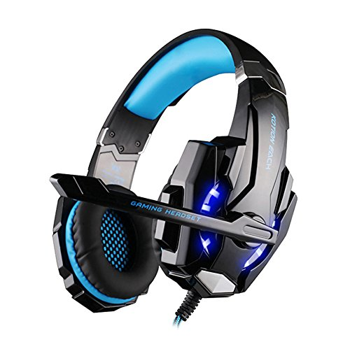multifun G9000 Gaming Kopfhörer PS4 3,5mm Stereo Gaming Headset PC mit LED Licht Mikrofon In-line Lautstärkeregler für PC, Playstation 4, Tablet, Smartphone. Schwarz und Blau mit Verpackung