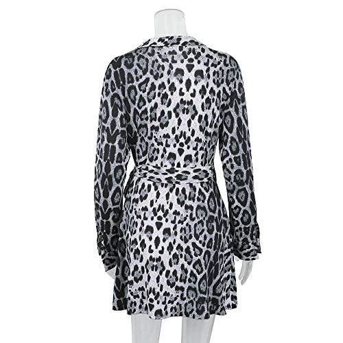 De À Irrégulière Léopard Hiver Itisme Élégante Femme Section Automne Longues Longue Chic Manches Robe 2 Imprimée Mode Gris WqnpPwxBn