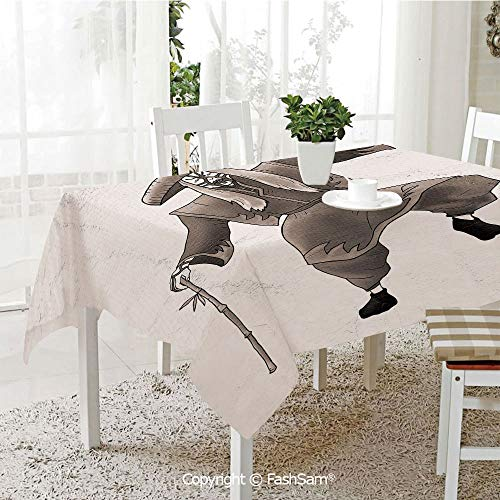 AmaUncle 3D Print Table Cloths Cover Orient Style Artist with Makeup and Costume Pose Dance Ancient Art Decorative Table Protectors for Family Dinners (W55 xL72)]()