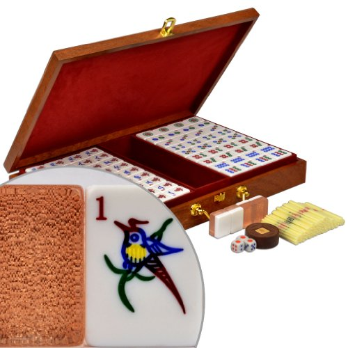"Chinese Mahjong (Mah Jong, Mahjongg, Mah-Jongg, Mah Jongg, Majiang) Game Set, Numbered Tiles, Wood Veneer Case, ""Champagne Gold"" by Yellow Mountain Imports"