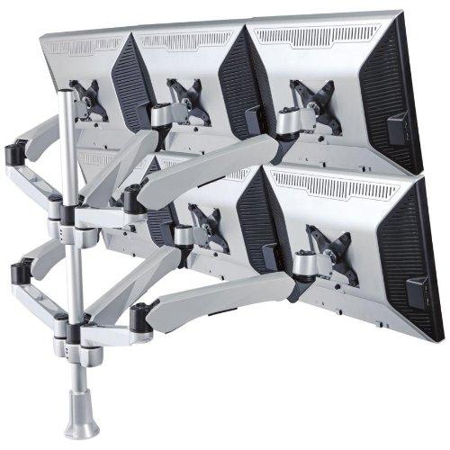 Cotytech Wandhalterung für sechs Monitor Tischhalterung mit Schnellöffnungsmechanismus Spring Arm/Connect