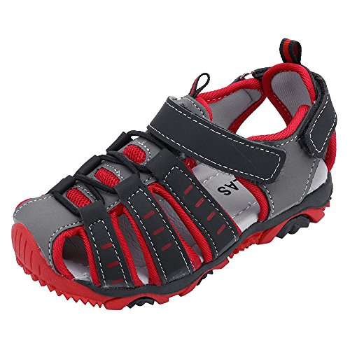 〓LYN Star〓 Boys Girls Sport Water Sandals Closed-Toe Summer Outdoor Beach Closed-Toe Sandals(Toddler/Little Kid/Big Kid) Red