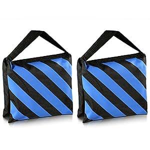 Neewer Set of Two Black/Blue Heavy Duty Sand Bag Photography Studio Video Stage Film Sandbag Saddlebag for Light Stands Boom Arms Tripods