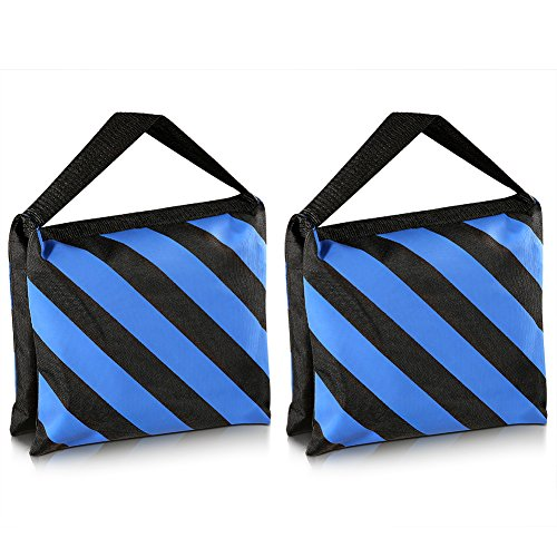 Neewer Set of Two Black/Blue Heavy Duty Sand Bag Photography Studio Video Stage Film Sandbag Saddlebag for Light Stands Boom Arms Tripods
