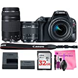 Canon EOS Rebel SL2 Digital SLR Camera (Wi-Fi) Body with Canon EF-S 18-55mm f/4-5.6 IS STM Lens & Canon EF 75-300mm 4-5.6 III Lens + Camera Works Cleaning Solution + 32GB High-Speed Memory Card