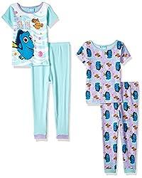 Disney Toddler Girls' Finding Dory 4-Piece Cotton Pajama Set, Blue, 2T