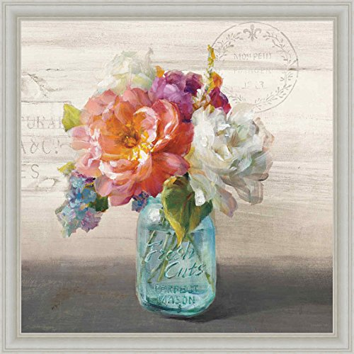 French Cottage Bouquet I Danhui Nai Mason Jar Flowers Framed Art Print Picture