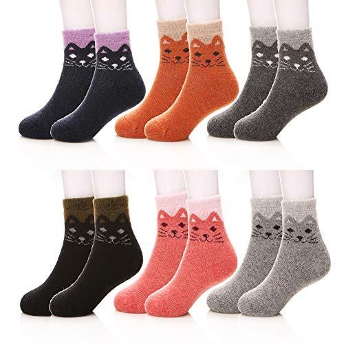 Kids Girls Boy Super Thick Winter Soft Wool Warm Children Socks 6 Pairs(Cat,8-12 ()