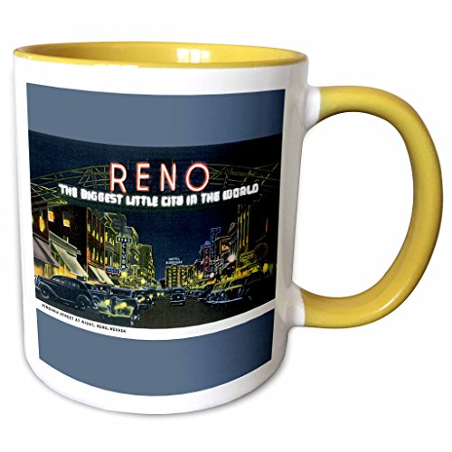 3dRose BLN Vintage US Cities and States Postcards - Reno The Biggest Little City in the World Night Scene Reno, Nevada - 11oz Two-Tone Yellow Mug - Outlets Reno Nevada