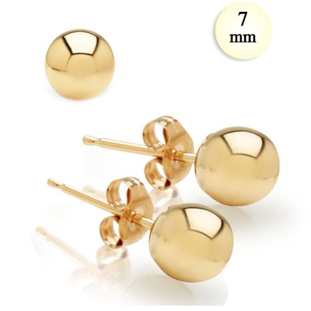 7MM High Polish 14K Yellow Gold Classy Ball Earrings with Friction Post//Tension Back