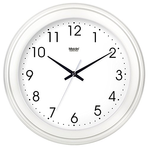 BYLE Non Ticking Battery Operated Decorative Creative Stylish Living Room Round Simple Muted Electronic Quartz Clock Home Decor Wall Clock, 16 Inch, Basic White Pearl -544,