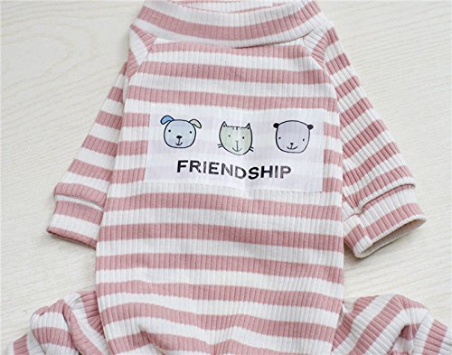 Stripe - Pink L # NEW Dog Pet Clothes Cotton Jumpsuit Trousers Pants Puppy Cute Clothing Apparel by up2014store