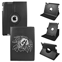 Angel Mini Ipad Cover Synthetic Leather Rotating Ipad Mini Case (Black): 360 Degrees Multi-angle Vertical and Horizontal Stand with Strap