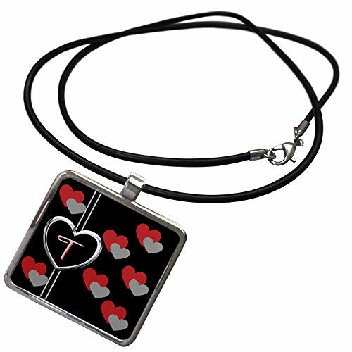 3dRose Charlyn Woodruff - CW Designs Monogram - Hearts - Modern Geometric Black Red Grey Hearts Pattern Monogram Letter T - Necklace With Rectangle Pendant (ncl_215211_1)