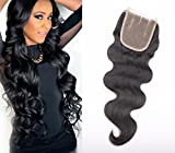 Human Hair Lace Top Closure Sunwell Brazilian Virgin Hair Closure Bleached Knots Body Wave Three Part 3.5×4 Lace Closure with Baby Hair Natural Color 16inch