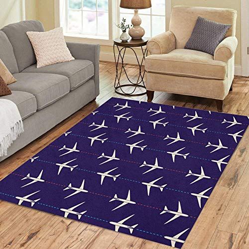 Semtomn Area Rug 3' X 5' Pattern Abstract Airplanes Plane Aviation Sky Transport Air Aircraft Home Decor Collection Floor Rugs Carpet for Living Room Bedroom Dining ()