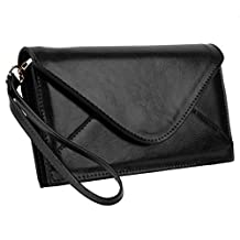Yaluxe Women's Genuine Leather Envelope Style Structure Purse Clutch Wallet with Wrist Strap (Gift Box) Black