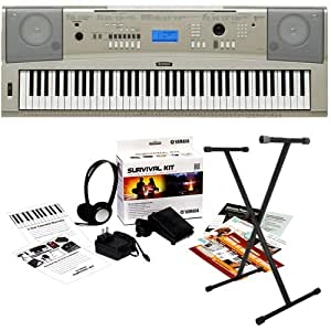 yamaha ypg 235 portable grand keyboard bundle w stand and survival kit musical. Black Bedroom Furniture Sets. Home Design Ideas