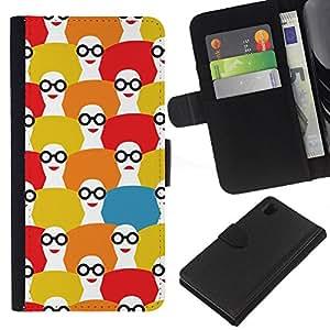 EJOY---La carpeta del tirón la caja de cuero de alta calidad de la PU Caso protector / Sony Xperia Z1 L39 / --Patrón Fashion Girl Blanco Rojo