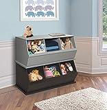 Stackable Wooden 3 Bin Open Storage Toy