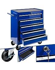 Arebos Werkplaatswagen, 5 vakken, centraal afsluitbaar, anti-slipcoating, wielen met parkeerrem, massief metaal, rood, blauw of zwart