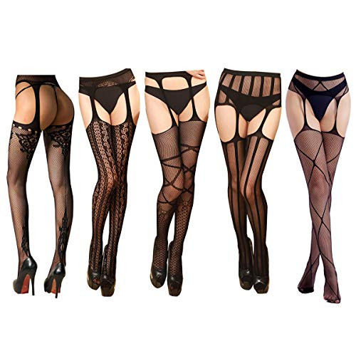 Flashbluer Black Tights Stockings for Women Fishnet Stockings Suspender Pantyhose Thigh High Stockings ()