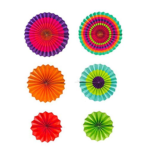 Geetobby New Party Hanging Paper Fans Tissue Paper Poms Flower and Honeycomb Balls Colorful Decoration Set
