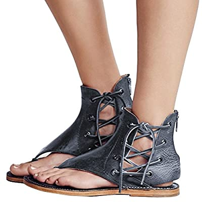 Women's Sandals Lace up Summer Flats Thong Flip Flop Sandals