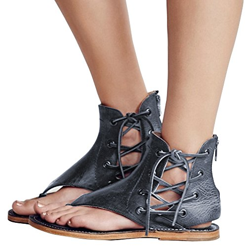Freashine Women's Sandals Lace up Summer Flats Thong Flip Flop Sandals Black US 8 (Sandals Thong Women Pu)