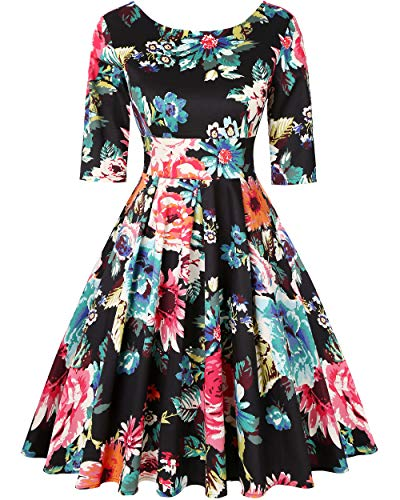 (MINTLIMIT 50s 60s Vintage Swing Picnic Party Casual Cocktail Dress (Floral Black,Size XL))