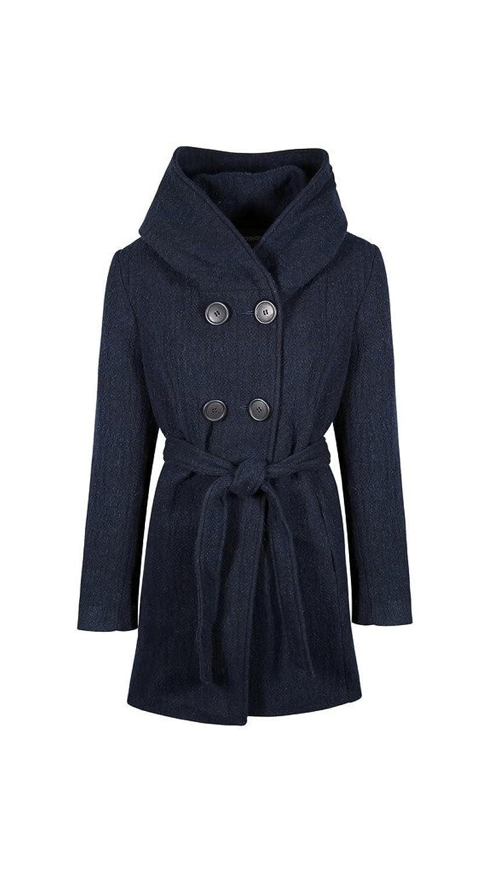 Anastasia - Damen Navy Blau Tweed Kapuzenmantel Mit Gürtel