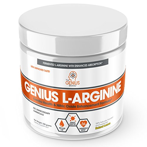 Genius L ARGININE Powder – Fermented L-Arginine Nitric Oxide Supplement, Natural Muscle Builder & NO Booster for Healthy Blood Pressure, Protein Synthesis and Strength Building, Lemon, 30 Sv Review