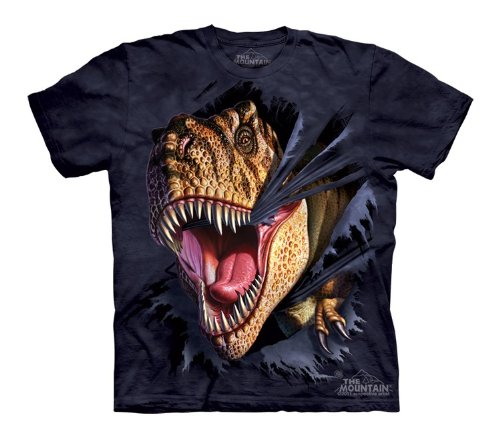 Mountain T-Rex Tearing Youth Size T-shirt , Blue , Small