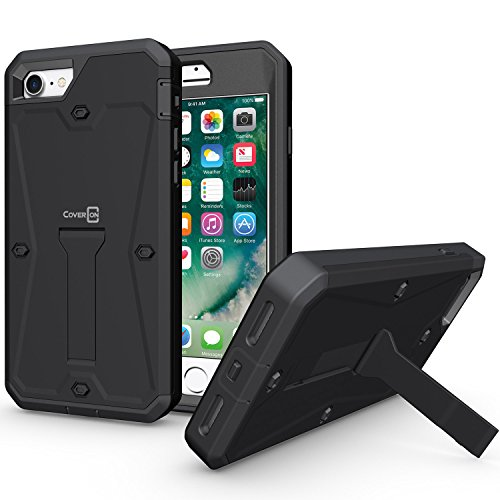 iPhone 8 Full Body Case, iPhone 7 Case, CoverON [Priwen Series] Hard Protective Hybrid Kickstand Case for Apple iPhone 8 / iPhone 7 - Black (Moisture Today Body)