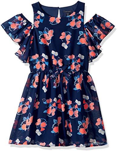 (Tommy Hilfiger Big Girl's Big Girls' Short Sleeve Fashion Dress Dress, floral flag blue, L12/14)