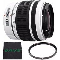 PENTAX DA 18-55mm f/3.5-5.6 AL Weather Resistant Lens (White) + UV Filter + MicroFiber Cloth 6AVE Bundle