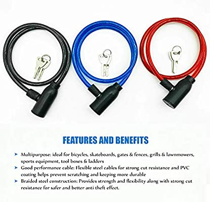 Blue Max Limit Cable Bike Lock Black /& Red Self Coiling Bicycle Lock Made From Tough Braided Steel Wires and Durable PVC